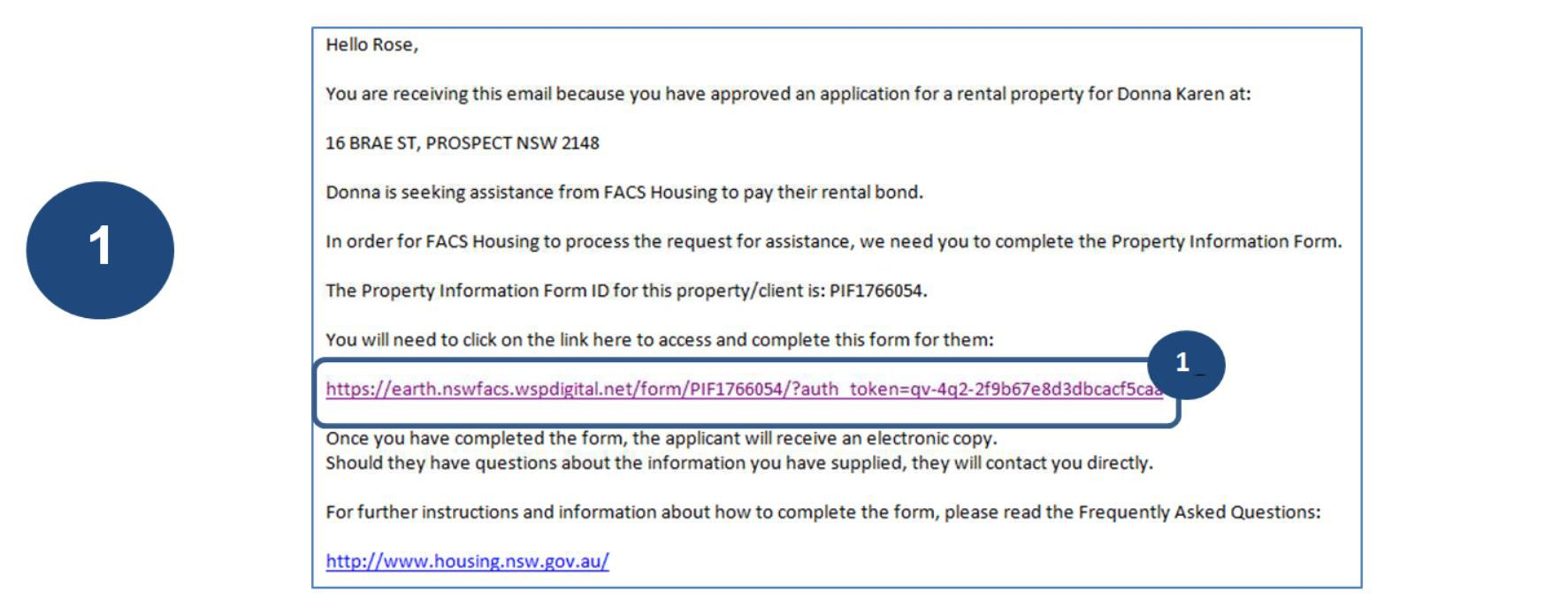 simply click on the link to complete the Property Information form.
