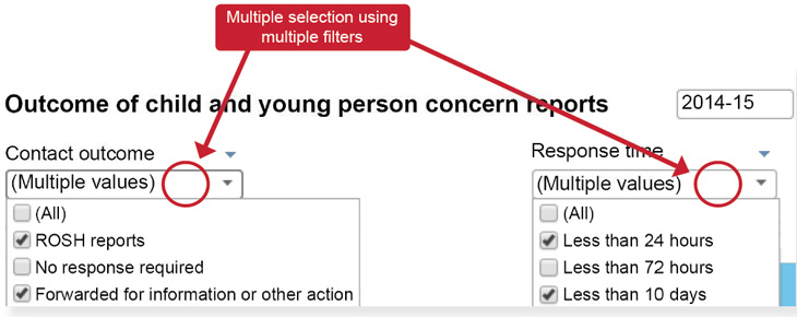 Multiple selection using multiple filters