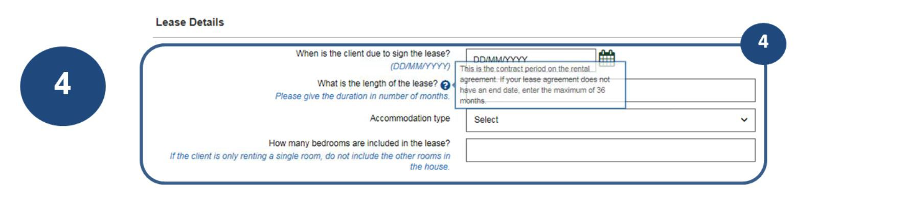 4. Complete the fields for Lease details, ensuring all details are correct, especially due date for signing of lease and length of lease.