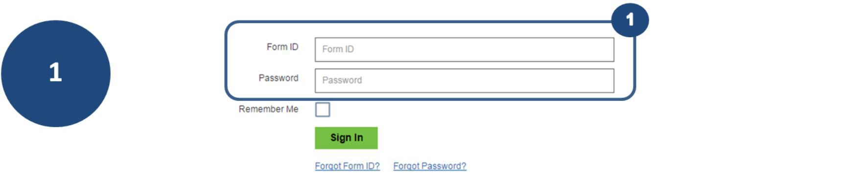1. To view the status page, log in using your Form ID and Password.