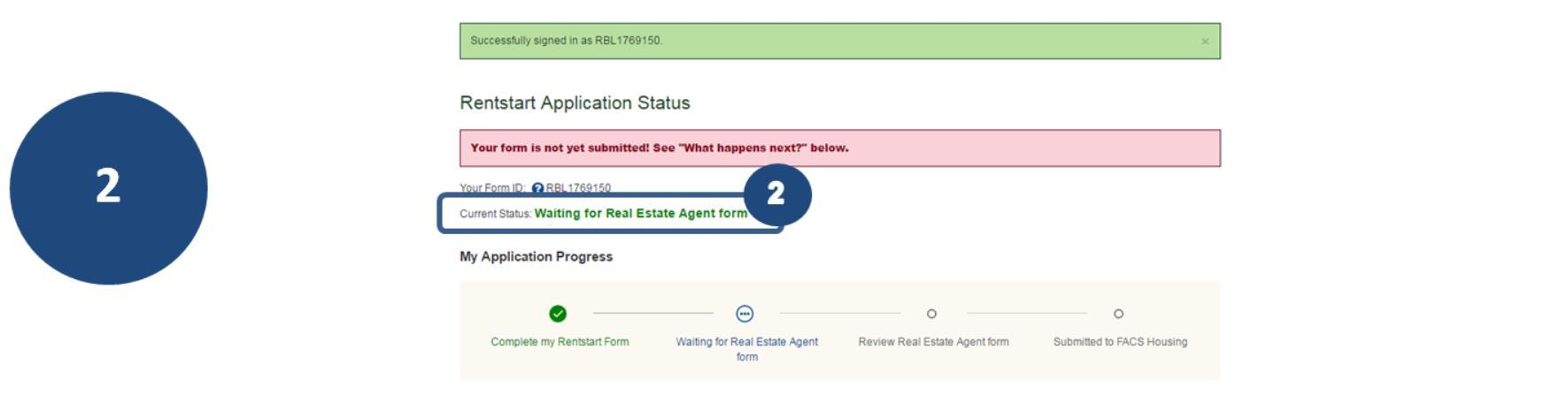 2. If your application status is Waiting for the Property Information form