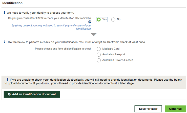 Enter your details and select Run Identification Check