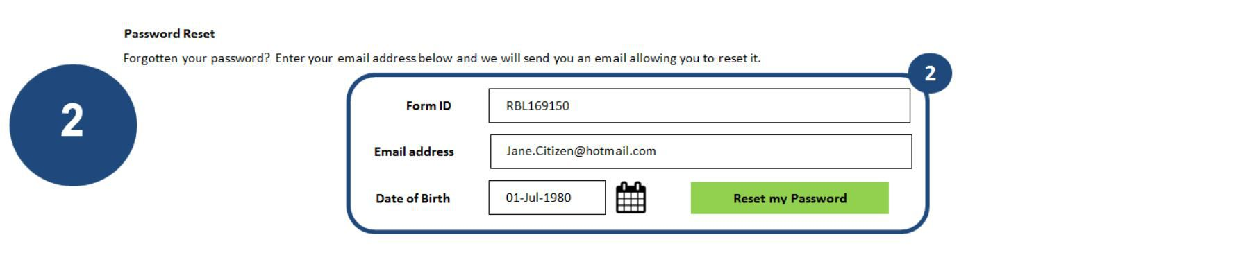 2. Enter your Form ID, email address and date of birth