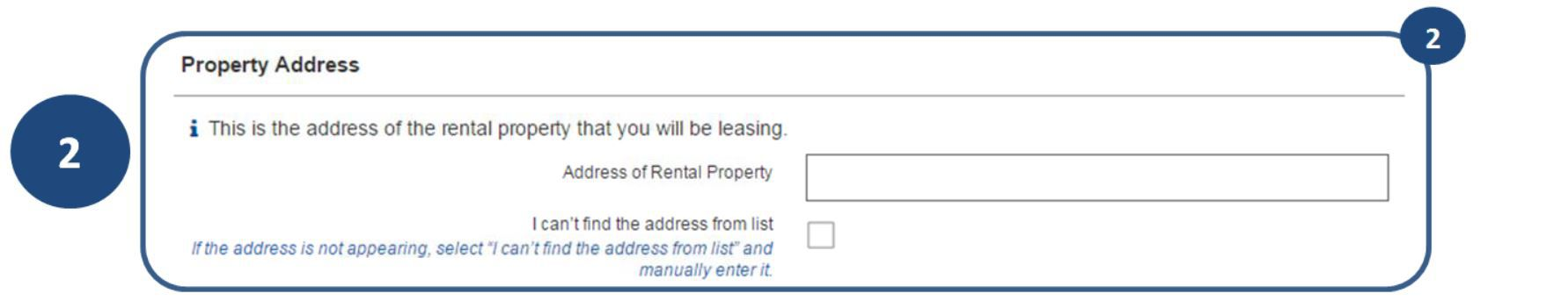 2. Enter the address of the property you will be renting