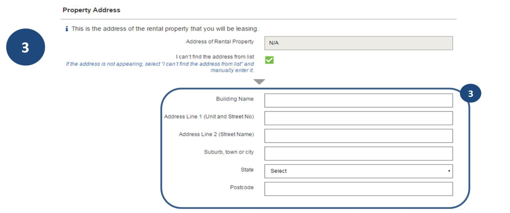 3. If the address does not appear, tick the 'I can't find address from list' box and enter all the details.